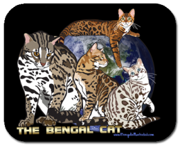 Bengal Cat with Asian Leopard Cat Mouse Pad