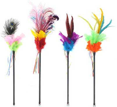 Cat Toy Feather Teaser Wand Bengal Cats Bengals