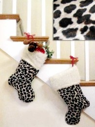 Plush Leopard Print Stocking Fur Trimmed