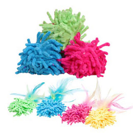 Floppy Mop Ball with or w/out Feathers – Cat Toy